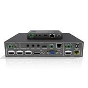 Коммутатор (Свитчер) мультиформатный PureTools PT-PSW-52 с масштабированием сигнала для телеконференций 5x2, поддержка FullHD (1080P). Входы: Микрофонный, HDMIx3, DP, VGA, IR, RS-232, TCP/IP. Выходы HDMI, HDBT и Audio.