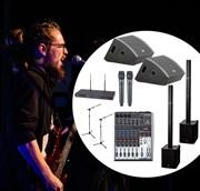 Комплект звука для живых выступлений- 1,5 киловатта. Небольшая сцена (4-6 метра)