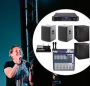 Комплект сценического  звука для караоке. Мощность 2 килловатта (зал до 100 квадратных метров)  пассивная акустика (Германия)