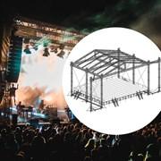 Сценический комплекс с замкнутым коньком с размером подиума 19,2 х 15,6 м, с электрической лебедкой и звуковыми порталами.