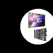 Экран коллективного пользования из LCD панелей для видеостен LG, конфигурация 3х3, шов 3,5 мм; настенное выдвижное крепление