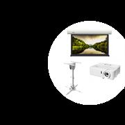 Комплект из проекционного экрана и проектора, диагональ 105 дюймов для небольшой переговорной комнаты