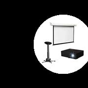 Мультимедийный комплект с моторизированным проекционным экраном и проектором для переговорной комнаты, конференц-зала и учебной аудитории, диоганаль 125 дюймов